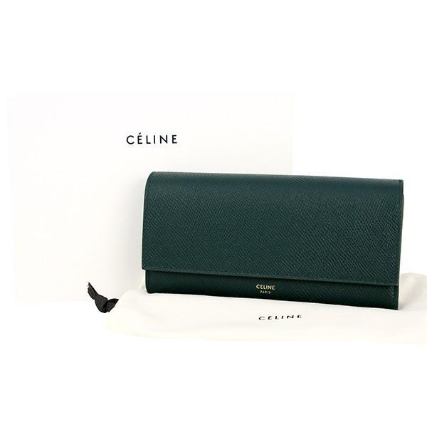 295ed8706923e9 ... 新品 セリーヌ ラージフラップウォレット グリーン 緑 レザー 二つ折り長財布 お札入れ カード入れ