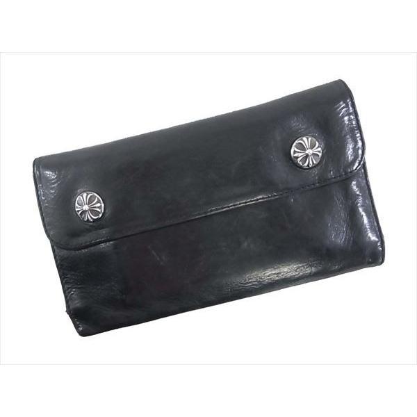 三つ折り財布 黒 3 HOLD WALLET CHROME HEARTS フォールド クロムハーツ 【中古品】 ボタン ウォレット クロス 【スペシャルアイテム】