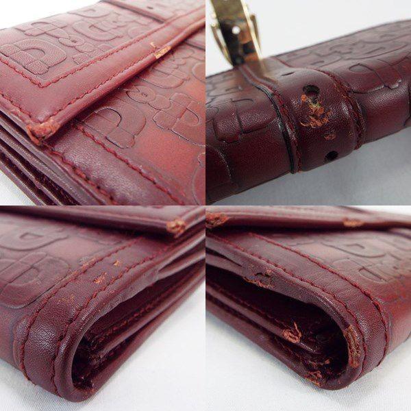 グッチ 2つ折り長財布 ホースビット柄 ワイン レザー 146201 中古 Bランク GUCCI レディース