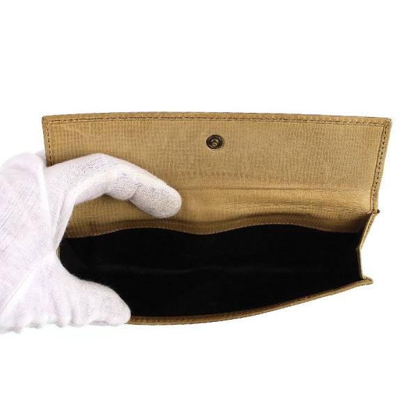 Gucci グッチ 二つ折り 長財布 レザー ベージュ 中古Cランク さいふ サイフ 財布