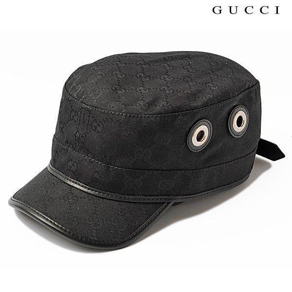 promo code 78539 3f753 グッチ キャップ GUCCI ミリタリーキャップ/帽子 GGブラック ...
