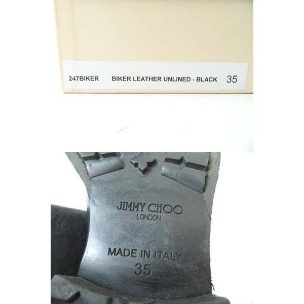 美品◎伊製 JIMMY CHOO/ジミーチュウ レディース ロゴプレート付き レザー エンジニアブーツ/バイカーブーツ ブラック 35 箱・保管袋付き