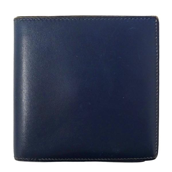 エルメスHERMES二つ折り財布ボックスカーフG金具ブルーロワイヤル□B1998年製メンズ