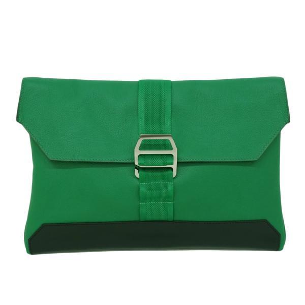 (美品)エルメスポシェットシティスライドトリヨンクリストバルクラッチセカンドバッグメンズバンブーグリーン緑D刻