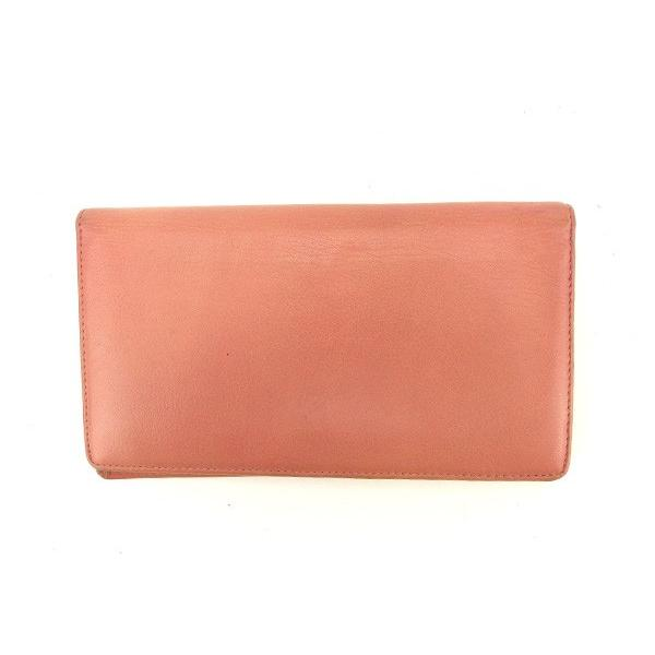 シャネル Chanel 財布 長財布 カメリア ピンク シルバー レディース 中古