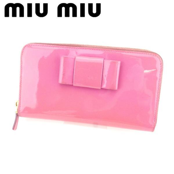 ミュウミュウ Miu Miu 財布 長財布 リボンモチーフ ピンク ゴールド レディース 中古