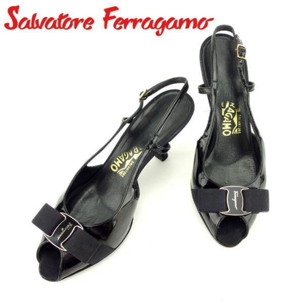 サルヴァトーレ フェラガモ サンダル シューズ 靴 ♯5ハーフB スリングバック ヴァラリボン Salvatore Ferragamo 中古