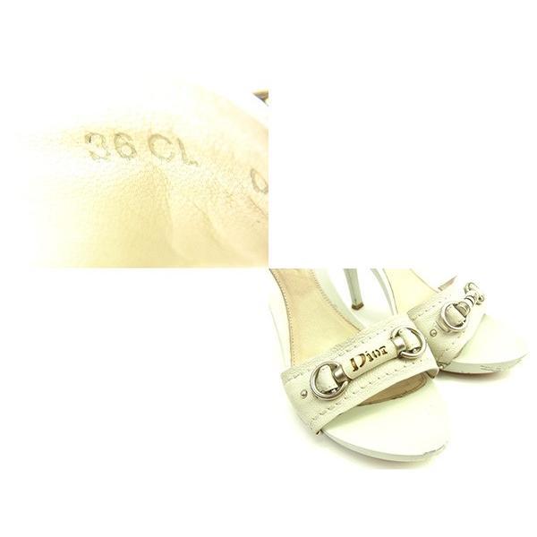 ディオール Dior ミュール ロゴ 36CL ピンヒール ホワイト シルバー レディース