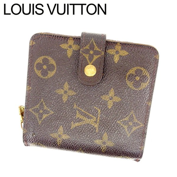 best service 6a023 05a7f ルイヴィトン Louis Vuitton 財布 二つ折り財布 モノグラム コンパクトジップ レディース 中古