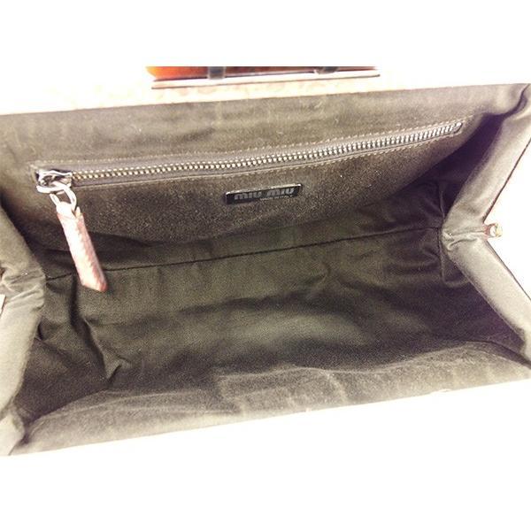 ミュウミュウ Miu Miu バッグ ハンドバッグ クロコダイル型押し ピンクベージュ レディース  Bag