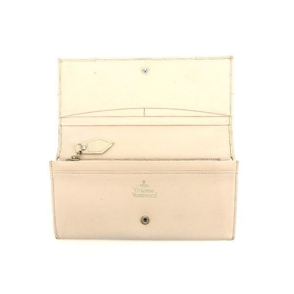 ヴィヴィアン ウエストウッド Vivienne Westwood 財布 長財布 オーブ ライトベージュ シルバー レディース 中古