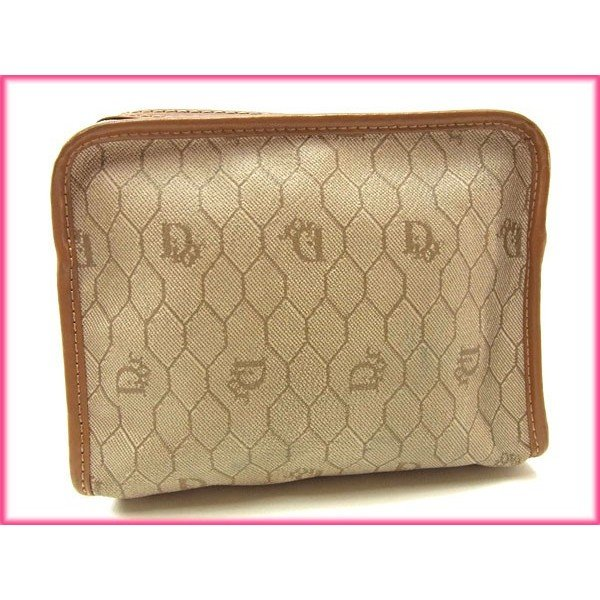 ディオール Dior ポーチ ロゴ柄 ヴィンテージ ベージュ ライトブラウン レディース 中古 Pouch