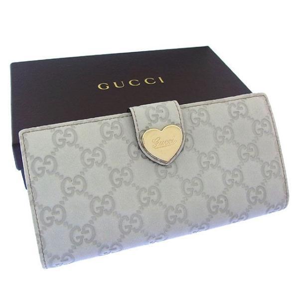 buy popular 28fd6 1cc26 グッチ Gucci 財布 長財布 グッチシマ ハートプレート付き グレーベージュ ゴールド レディース 中古