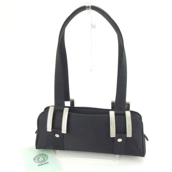 ヴェルサーチ Versace バッグ ショルダーバッグ メドゥーサボタン ラインストーン付き ブラック シルバー レディース 中古 Bag