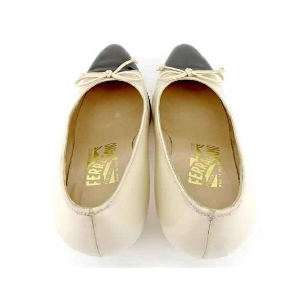 サルヴァトーレ フェラガモ Salvatore Ferragamo パンプス シューズ 靴 レディース ♯6D バイカラー リボン  人気 良品 P888