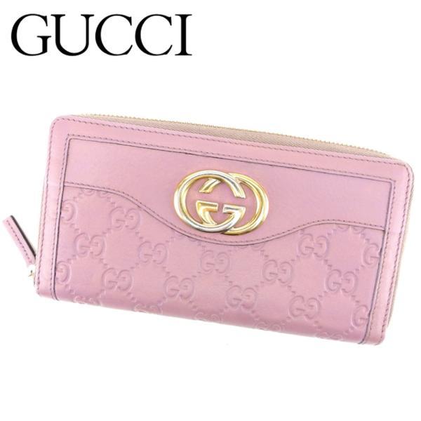 グッチ Gucci 財布 長財布 グッチシマ インターロッキングG ピンク パープル ゴールド レディース 中古