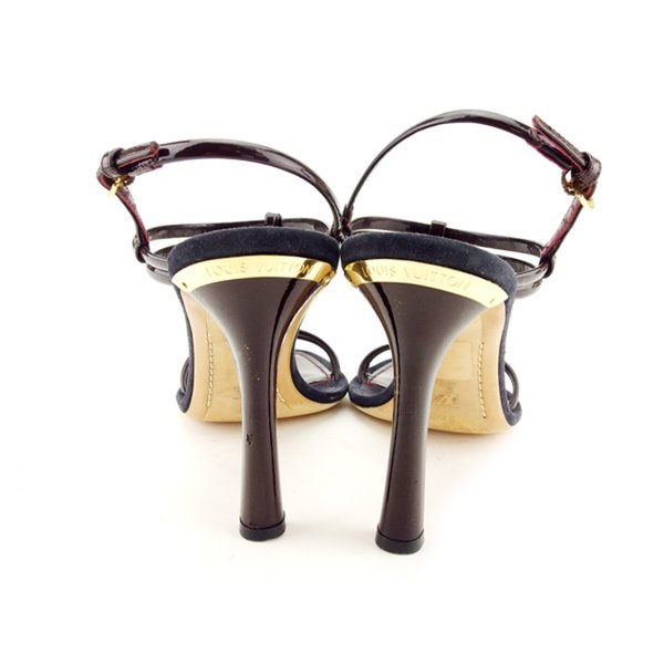 ルイヴィトン Louis Vuitton サンダル 37 ブラウン ブラック レディース メンズ 中古 Sandals