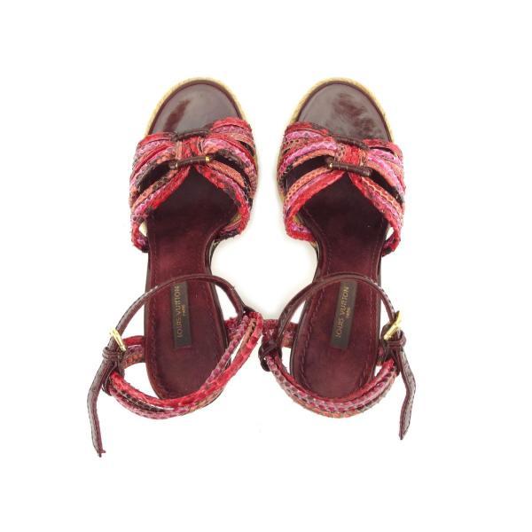 ルイヴィトン Louis Vuitton サンダル パイソン 34.5 レッド レディース 中古 Sandals