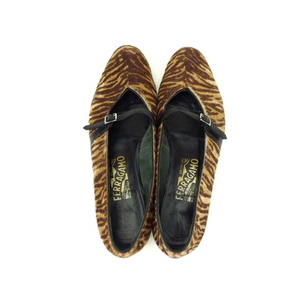 サルヴァトーレ フェラガモ Salvatore Ferragamo パンプス シューズ 靴 レディース ♯6ハーフC ゼブラ