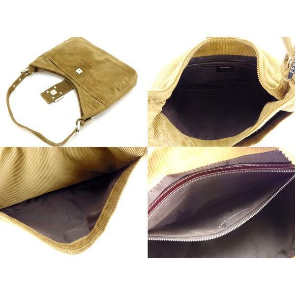 フェンディ Fendi バッグ ショルダーバッグ コーデュロイ FFプレート付き ベージュ シルバー レディース 中古 Bag