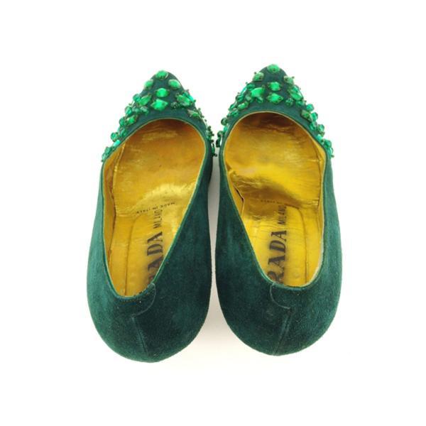 プラダ PRADA パンプス シューズ 靴 レディース ♯36ハーフ ポインテッドトゥ ビジュー 中古