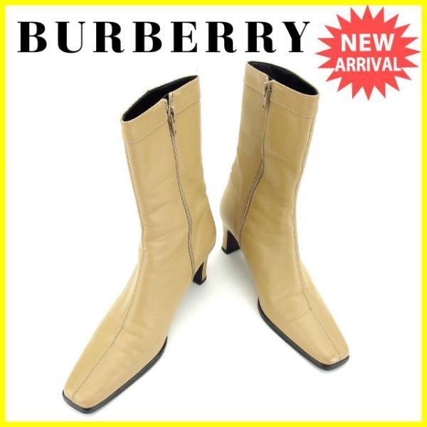 バーバリー Burberry ブーツ ロゴプレート 23E ミドル ベージュ ブラックシルバー レディース 訳あり 中古