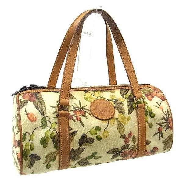 ハンティングワールド HUNTING WORLD バッグ ハンドバッグ フルーツ柄 ロゴ×エレファント ベージュライトブラウン レディース  Bag