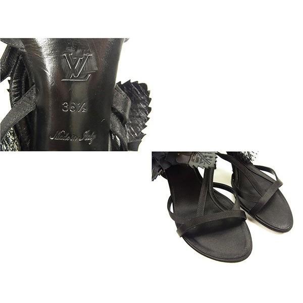 ルイヴィトン Louis Vuitton サンダル フラワーモチーフ ブラック レディース 中古 Sandals