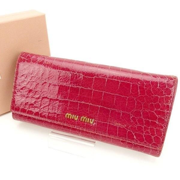 ミュウミュウ miumiu 長財布 レディース クロコダイル型押し