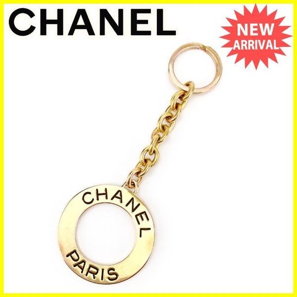 シャネル Chanel キーリング ロゴリング ゴールド ブラック レディース メンズ 中古