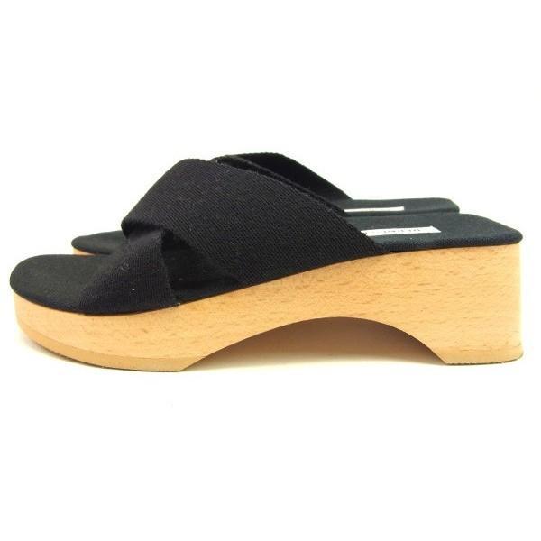 エルメス Hermes サンダル クロスデザイン 35 ブラック ナチュラル レディース 中古 Sandals