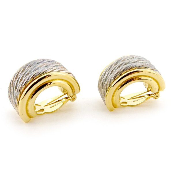 ジバンシィ Givenchy イヤリング ハーフリング クリップ式 シルバー ゴールド系 レディース 中古 Earrings