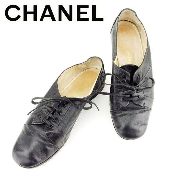 シャネル Chanel スニーカー レースアップ 36 ココマークステッチ ブラック レディース 中古