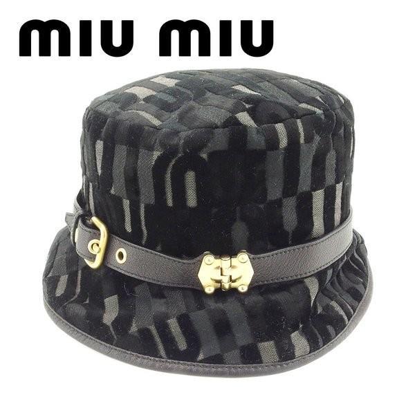 ミュウミュウ Miu Miu 帽子 ロゴ ブラック レディース 中古
