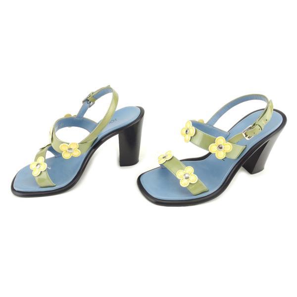 ルイヴィトン Louis Vuitton サンダル フラワーモチーフ 35 ブルー グリーン イエロー レディース メンズ 中古 Sandals