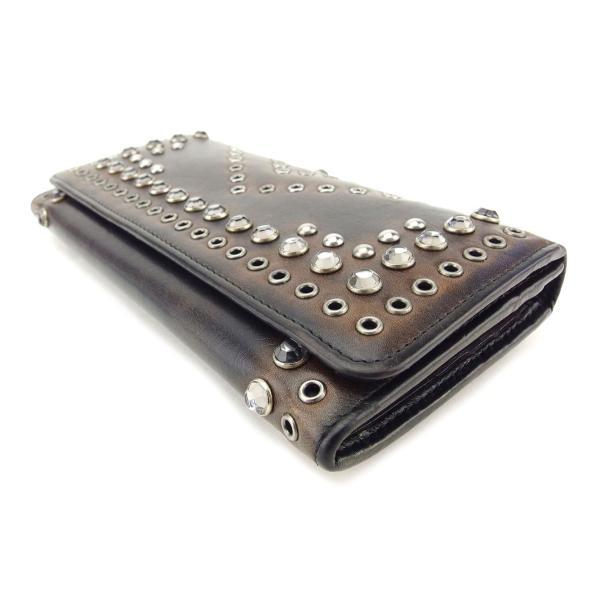 プラダ PRADA 長財布 ファスナー付き 長財布 レディース ビジュー 中古 人気 良品 T7670