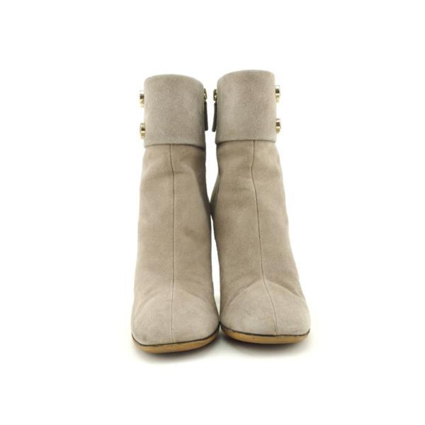 グッチ GUCCI ブーツ シューズ 靴 レディース ♯37ハーフ ロゴボタン ショート 中古