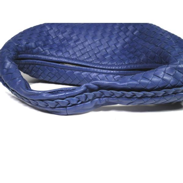 美品 ボッテガヴェネタ イントレチャート ハンドバッグ ブルー レザー レディース 115653 編み込み 青