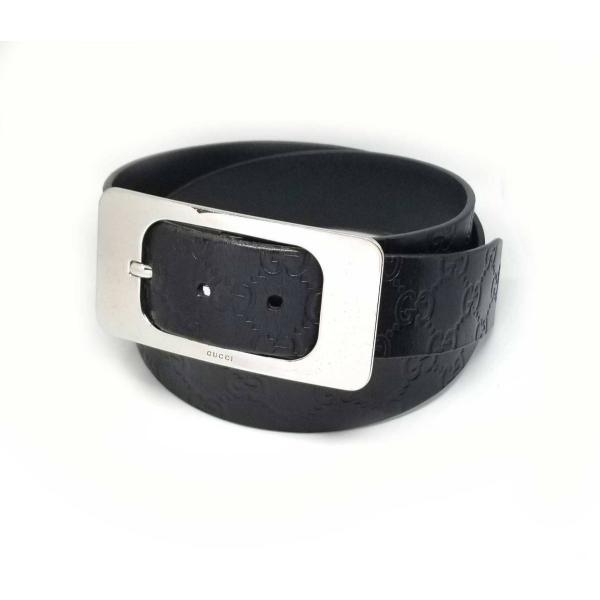 6215355f10a3 グッチ ベルト 90cm グッチシマ レザー ブラック 黒 本革 メンズ GG 型押し GUCCIの画像