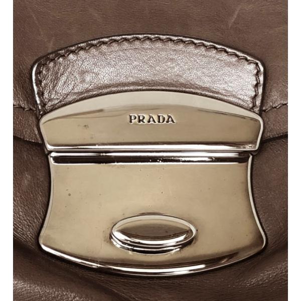 プラダ ハンドバッグ ミニボストンバッグ ブラウン 茶色 レザー ショルダーバッグ PRADA 美品 オールレザー レディース ミニボストン