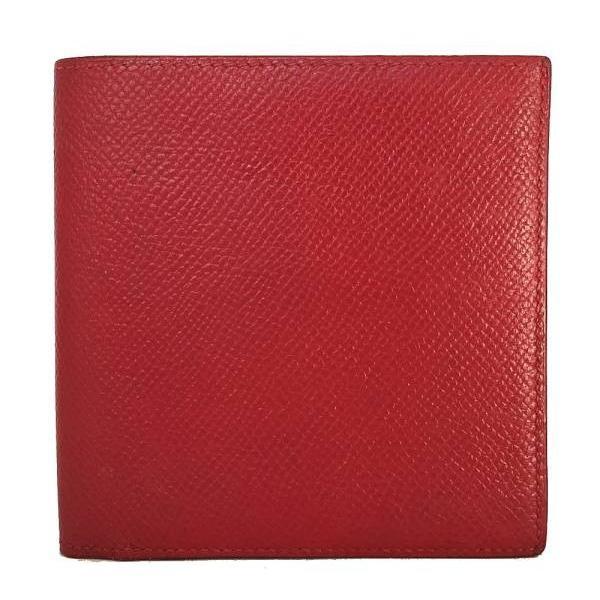 エルメス二つ折り財布財布レッドクシュベルレディース赤