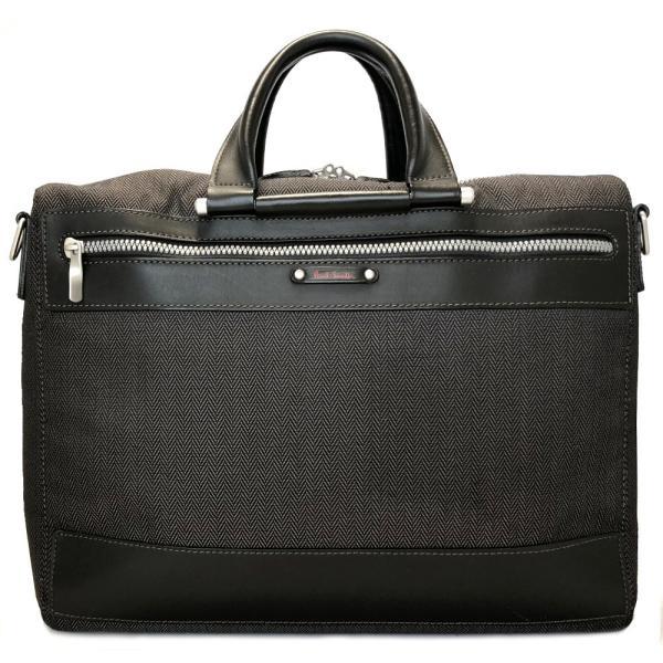 f50ad36b11 ポールスミス ブリーフケース 書類鞄 ビジネスバッグ グレー キャンバス レザー メンズ PCケース 紳士用