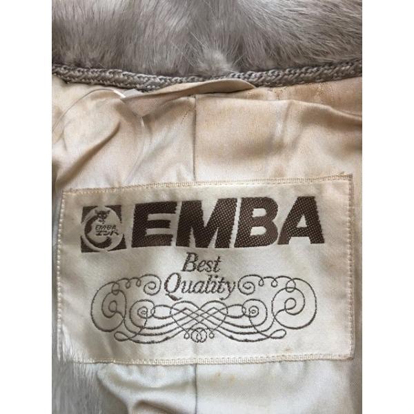 エンバ EMBA コート レディース アイボリー×グレー ミンクファー/冬物         スペシャル特価 20180622|brandear|03