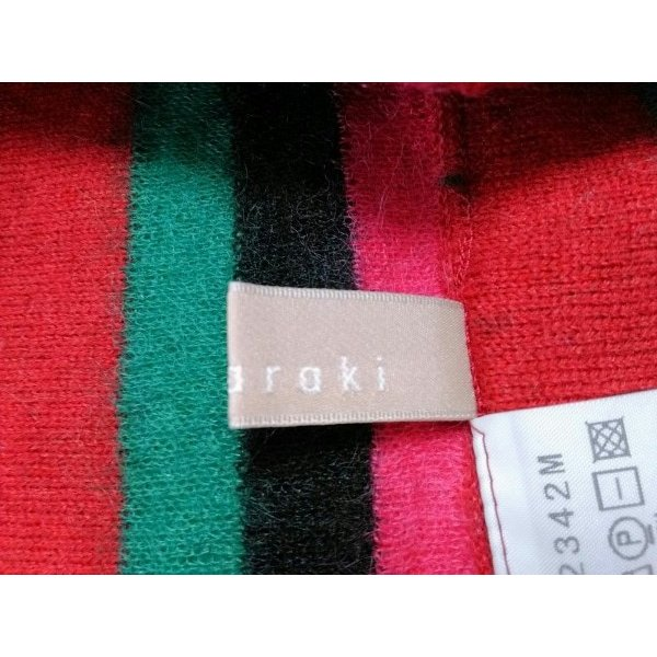 ノリコアラキ noriko araki マフラー 黒×レッド×マルチ スヌーズ/ボーダー  値下げ 20190604|brandear|03