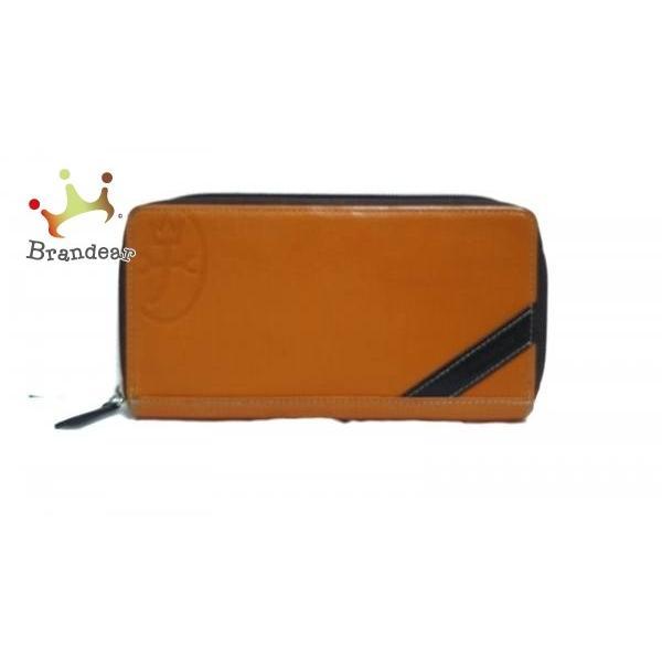 カステルバジャック 長財布 オレンジ×ダークブラウン 型押し加工/ラウンドファスナー レザー   スペシャル特価 20190521|brandear