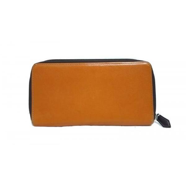 カステルバジャック 長財布 オレンジ×ダークブラウン 型押し加工/ラウンドファスナー レザー   スペシャル特価 20190521|brandear|02