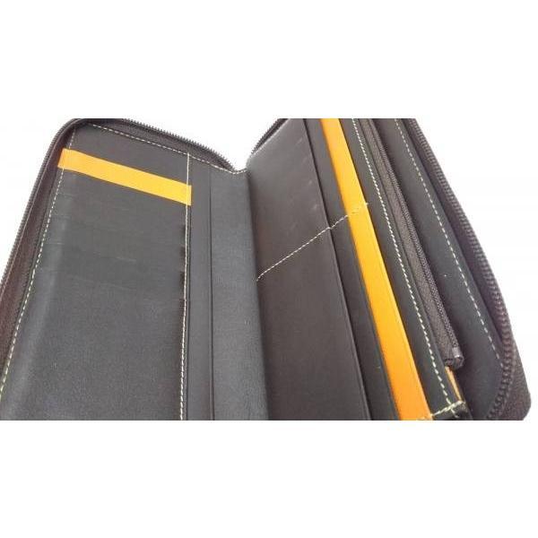 カステルバジャック 長財布 オレンジ×ダークブラウン 型押し加工/ラウンドファスナー レザー   スペシャル特価 20190521|brandear|03