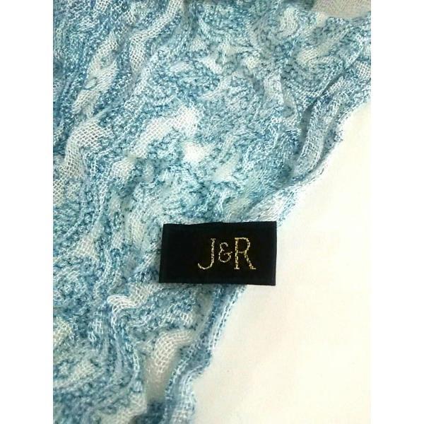 ジェイアンドアール J&R ストール(ショール) 美品 白×ブルー ペイズリー柄 レーヨン 新着 20190604|brandear|02