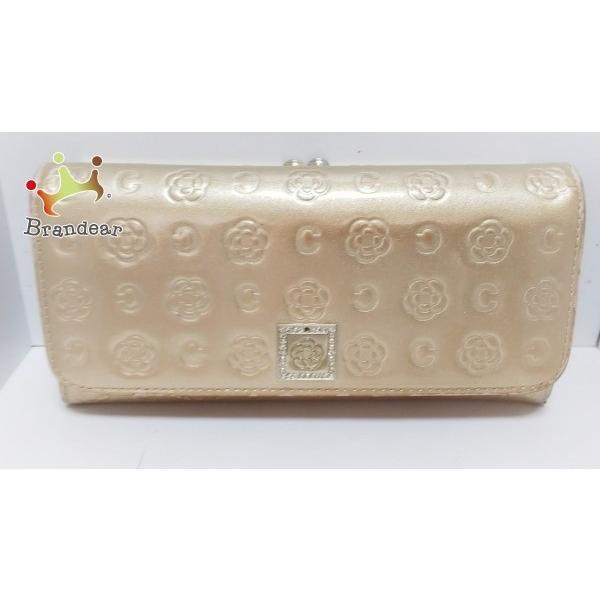 クレイサスCLATHAS長財布ゴールド型押し加工/ラインストーンエナメル(合皮)スペシャル特価20200515