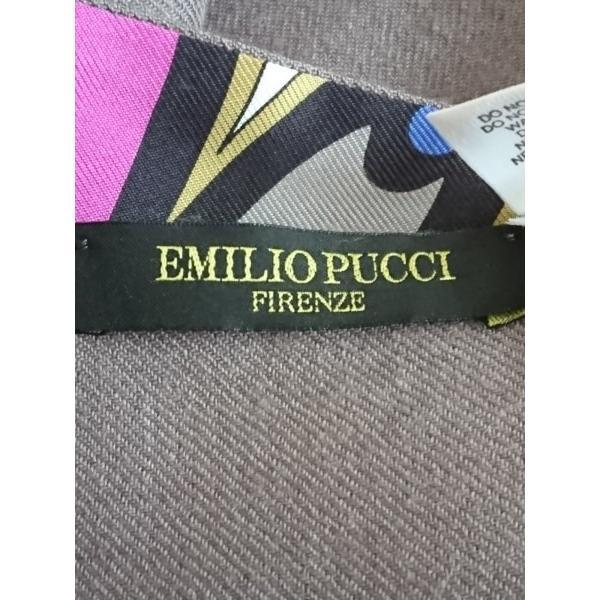 エミリオプッチ EMILIO PUCCI マフラー   美品 グレー×ダークグレー×マルチ シルク×ウール 新着 20191121|brandear|02